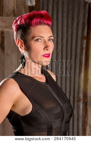Neo Noir Style Portrait Of A Modern Woman With Fuchsia Hair