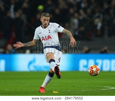 LONDON, ENGLAND - FEBRUARY 13 2019: Toby Alderweireld of Tottenham during the Champions League match between Tottenham Hotspur and Borussia Dortmund at Wembley Stadium, London.