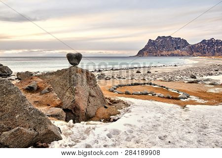 Utakleiv Beach, A Fantastic  Sandy And Rocky Beach