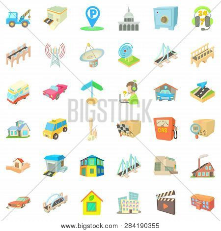 City Place Icons Set. Cartoon Style Of 36 City Place Icons For Web Isolated On White Background