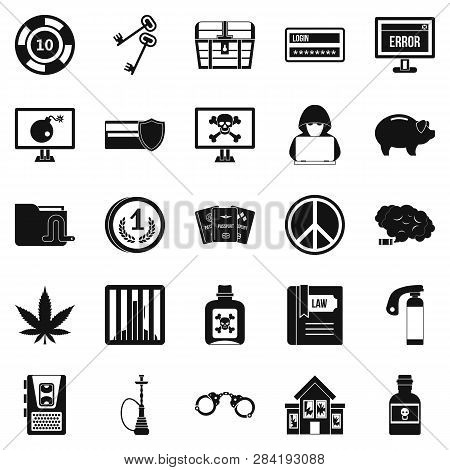Offence Icons Set. Simple Set Of 25 Offence Icons For Web Isolated On White Background