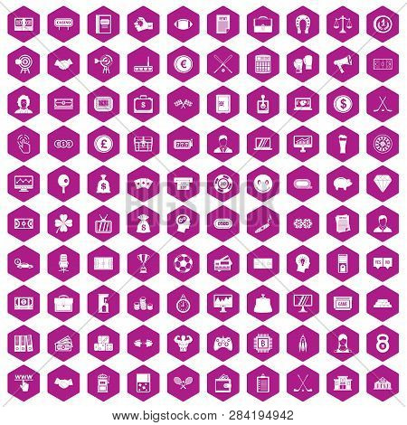 100 Sweepstakes Icons Set In Violet Hexagon Isolated Illustration