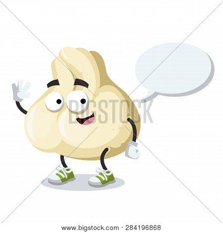 Cartoon Joyful Baozi Dumplings With Meat Mascot With A Speech Bubble