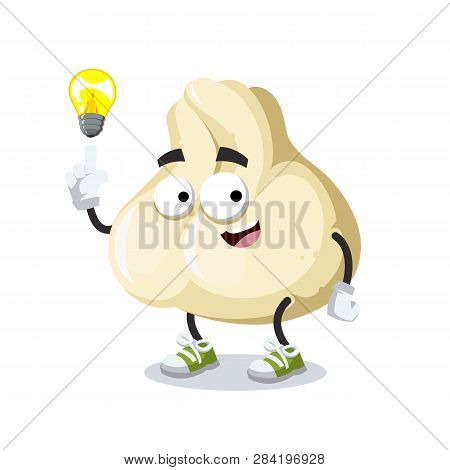 Cartoon Have An Idea Baozi Dumplings With Meat Mascot