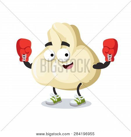 Cartoon Baozi Dumplings With Meat Mascot In Red Boxing Gloves