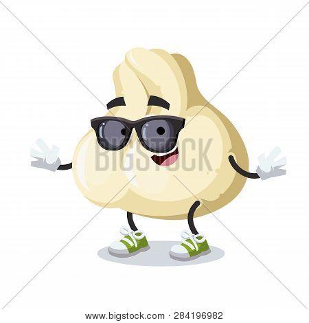 Cartoon Baozi Dumplings With Meat Character Mascot In Black Sunglasses