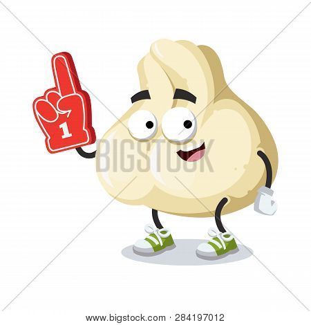 Cartoon Baozi Dumplings With Meat Character Mascot With The Number 1 One Sports Fan Hand Glove