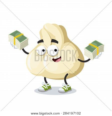 With A Pile Of Money Cartoon Baozi Dumplings With Meat Character Mascot