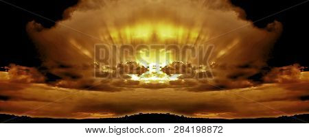 Sunset Panorama With Suns Rays Through Cumulonimbus And Nimbostratus Cloud. Lake Macquarie. New Sout