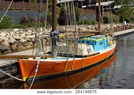 Vintage Old Style Gaff Rigged Sailing Boat Berthed At Tin Can Bay, Queensland, Australia. Brilliant