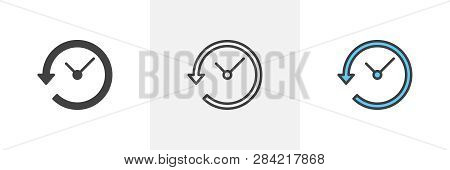 Time Back Icon. Line, Glyph And Filled Outline Colorful Version, Clock With Arrow Around Outline And