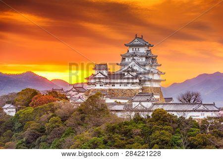 Himeji, Japan landscape with Himeji Castle at dawn.