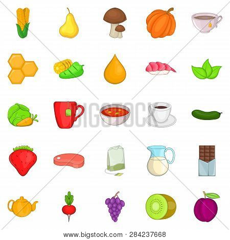 Dietetic Icons Set. Cartoon Set Of 25 Dietetic Icons For Web Isolated On White Background