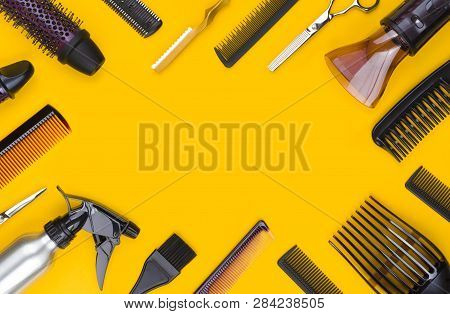 Hair Cutting Tool And Accessories With Copy Space In Center