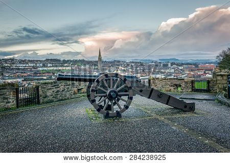 This Is A Picture Of The Old Siege Cannon On Historic Derry Walls In Northern Ireland