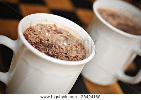 Hot Chocolate on White Mugs