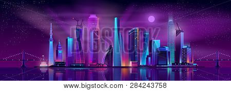 Growing Metropolis, City Development Neon Colors, Cartoon Vector Concept. Night Cityscape With Futur
