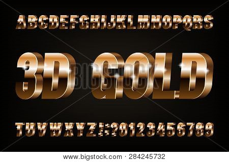 3D gold alphabet font. Golden effect letters and numbers. Stock vector typescript for your design. poster