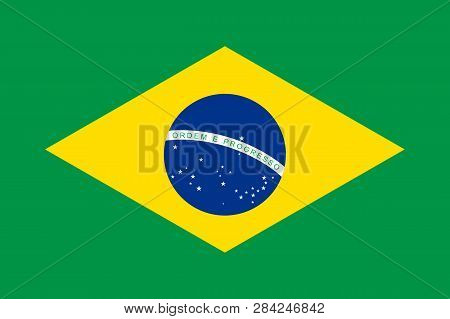 National Flag Of Republic Brazil. Brazilian Patriotic Symbol With Official Colors. South America Cou