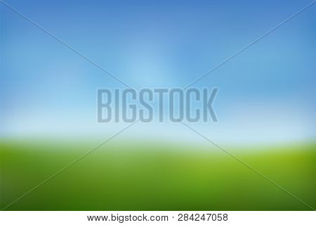 Summer Background. Green Fresh Grass, Blue Sunny Sky Blur Design. Abstract Summer, Spring Nature. Be