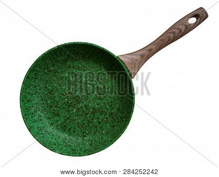 Green Stone Coated Frying Pan Isolated On White. Clipping Path Included.