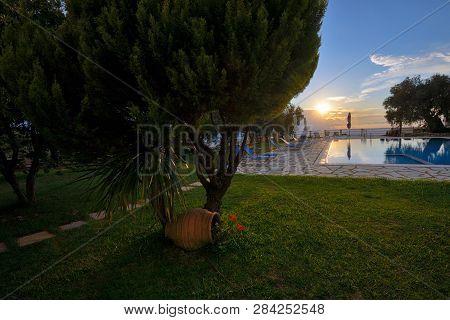 Summer Sunset Over Lefkada From Garden, Close Up