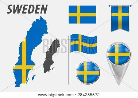 Sweden. Collection Of Symbols In Colors National Flag On Various Objects Isolated On White Backgroun