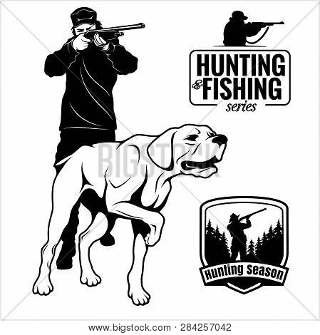 Hunter With Dog Aiming With His Rifle. Outdoor Hunting Scene. Pointer Looking On Prey. Man Hunting I