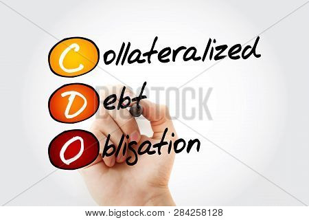 CDO - Collateralized Debt Obligation acronym with marker, business concept background poster