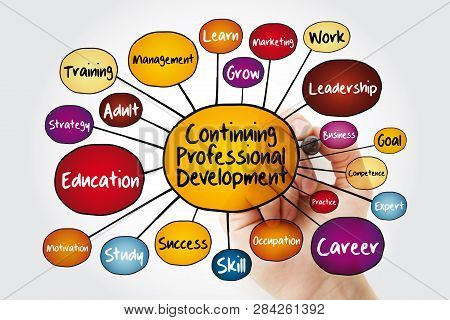 Continuing Professional Development Mind Map Flowchart With Marker, Business Concept For Presentatio