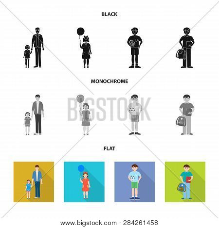 Vector Illustration Of Character And Avatar  Symbol. Set Of Character And Portrait Stock Symbol For