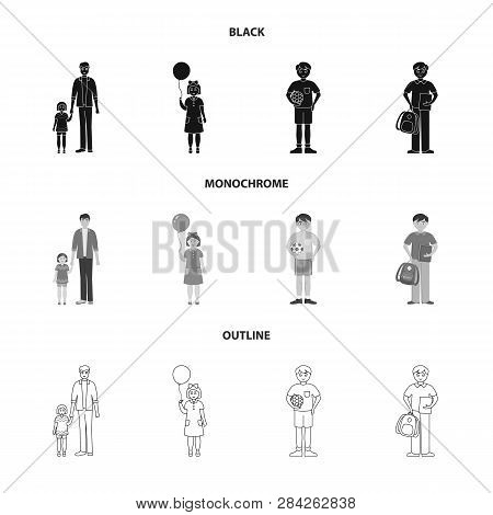 Vector Illustration Of Character And Avatar  Sign. Collection Of Character And Portrait Stock Vector