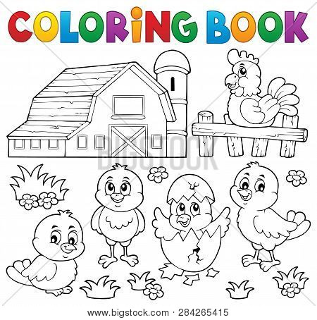 Coloring Book Chickens And Hen Theme 2 - Eps10 Vector Picture Illustration.