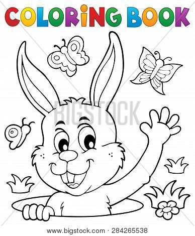 Coloring Book Lurking Easter Bunny - Eps10 Vector Picture Illustration.