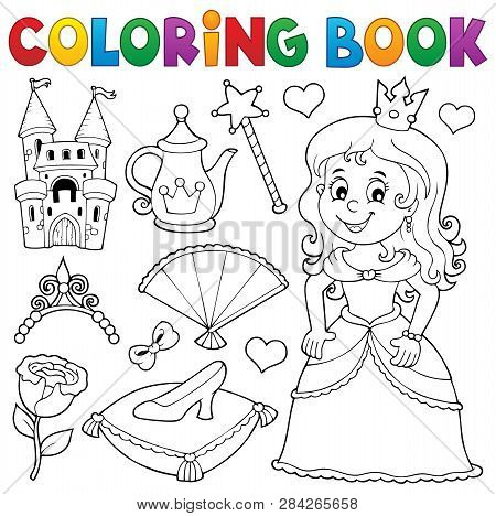Coloring Book Princess Topic Set 1 - Eps10 Vector Picture Illustration.