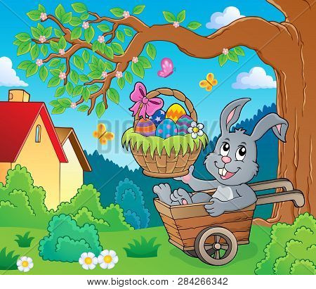 Easter Bunny In Wheelbarrow Image 3 - Eps10 Vector Picture Illustration.