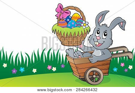 Easter Bunny In Wheelbarrow Image 4 - Eps10 Vector Picture Illustration.