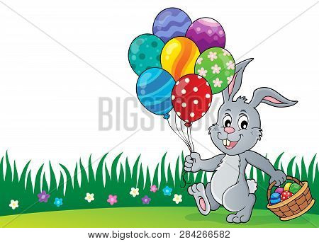 Easter Bunny With Balloons Image 2 - Eps10 Vector Picture Illustration.