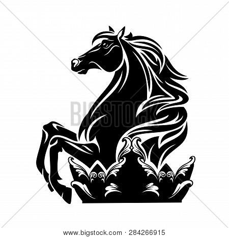 Horse And Royal Crown - Black Vector Stallion Silhouette And Regal Decor