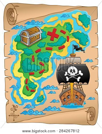Pirate Map Theme Image 5 - Eps10 Vector Picture Illustration.