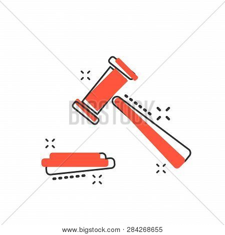 Vector Cartoon Auction Hammer Icon In Comic Style. Court Tribunal Sign Illustration Pictogram. Hamme