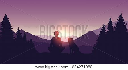 Man And His Dog Enjoy The Sunrise At Beautiful Purple Mountain Nature Landscape Vector Illustration