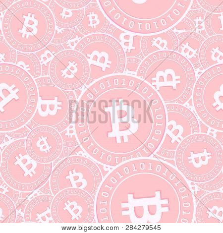 Bitcoin, Internet Currency Copper Coins Seamless Pattern. Artistic Scattered Pink Btc Coins. Success
