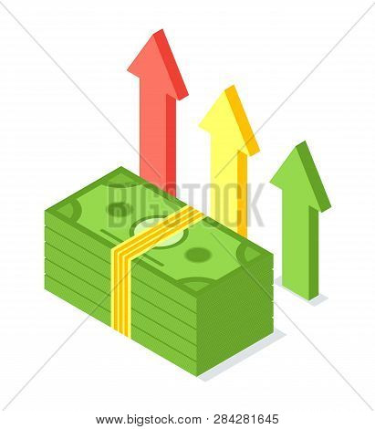 Pile Of Banknotes Vector, American Dollars Notes And Arrows Isolated Icon. Cash American Currency, R