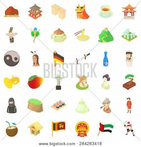 Europe Culture Icons Set. Cartoon Style Of 36 Europe Culture Icons For Web Isolated On White Backgro