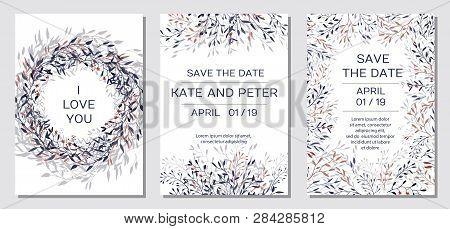 Wedding Invitation. Copper Elegant Floral Invite Set, Modern Card In Copper Leaf Greenery Branches D