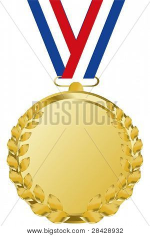 gold medal with tricolor ribbon