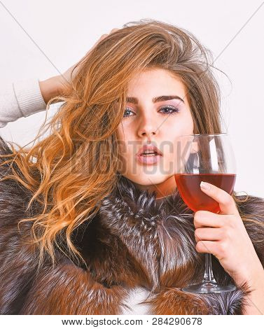 Girl Fashion Makeup Wear Fur Coat Hold Glass Alcohol. Elite Leisure. Reasons Drink Red Wine In Winte