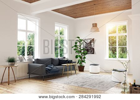 modern scandinavian living room design. 3d concept rendering