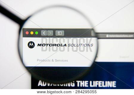 Los Angeles, California, Usa - 14 February 2019: Motorola Solutions Aerospace Website Homepage. Moto